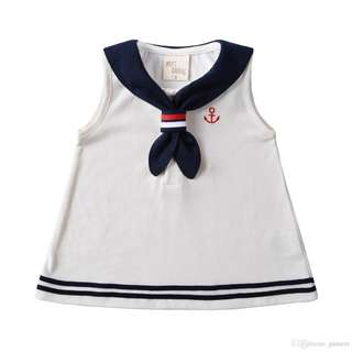 ✔️STOCK - NAUTICAL THEME WHITE SAILOR ANCHOR BABY TODDLER GIRL CASUAL FLARE DRESS KIDS CHILDREN CLOTHING