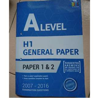 A level Past Examination Questions H1 General Paper, Examination Paper 1 & 2
