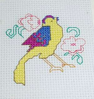 Completed Small Cross Stitch Pattern - Bird