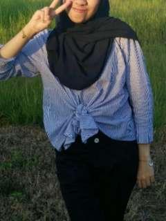 Stripe self wrap blouse