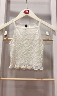 H&M white lace crop top