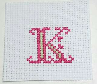 """Completed Small Cross Stitch Monogram - """"K"""""""
