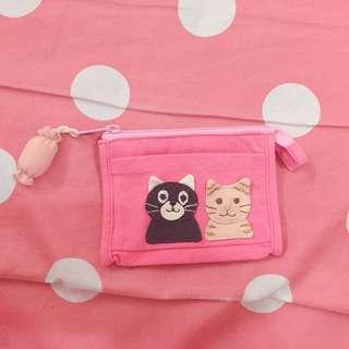 🚚 貓咪桃紅色 零錢包