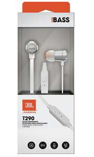 NEW: JBL T290 In-EAR Earpiece Earphone With Extra Bass Function High Quality immediate stock white silver color