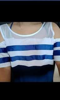 Blue Off shoulder stripe dress D19