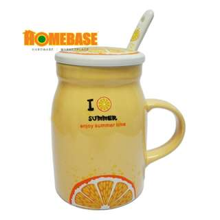 HOMEbase Korean Imported Eco creative Design Ceramic Mug, Mug with Handle,spoon and Cover (hy827-1)