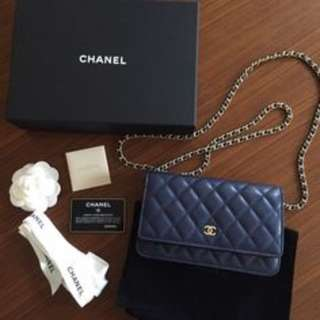 Chanel Caviar WOC in Navy Blue with Gold hardware