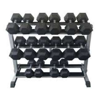 Hex Dumbell Set 5 - 50 lbs w/ Rack