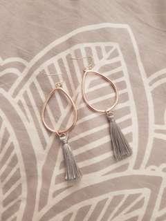 Drop hoop tassel earrings