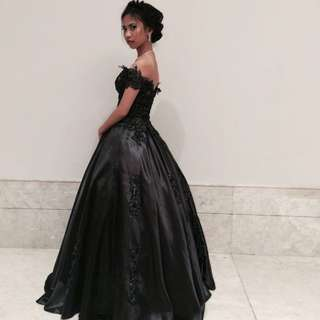 Off shoulder Black Ball Gown
