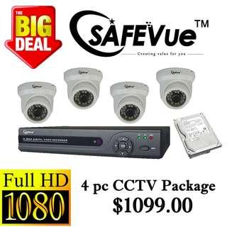 Safevue 1080P X4pcs CCTV CAMERA