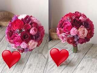 出門花球 襯褂 紫紅色花球 絲花球 candytree