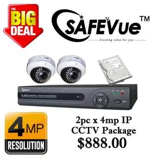 SafeVue 4MP x 2pcs IP CCTV Package 2