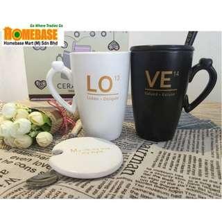 HOMEbase Creative design ceramic couple mug set with cover and spoon (xh100)