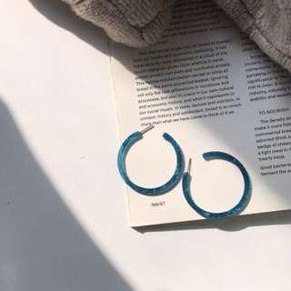 復古藍琥珀圓圈耳環