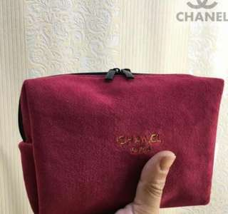 Chanel Suede Makeup Bag