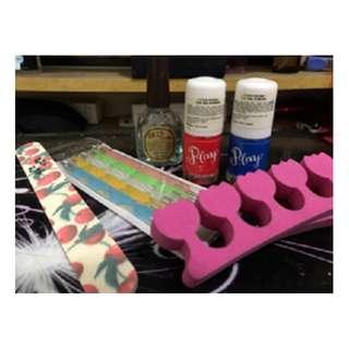 Paket Nail Set murah (ETUDE, SKINFOOD) 3 kutek + dotting + buffer