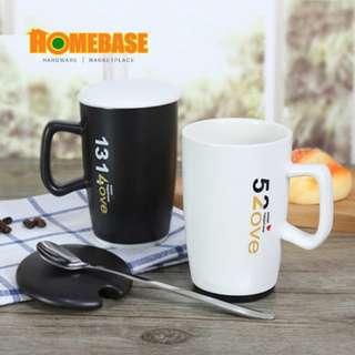 HOMEbase Creative design ceramic couple mug set with cover and spoon.(lx190)