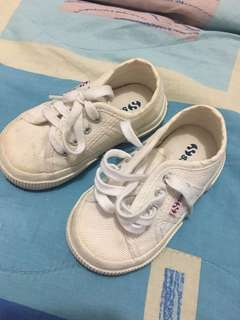 Superga white sneakers for babies size 22