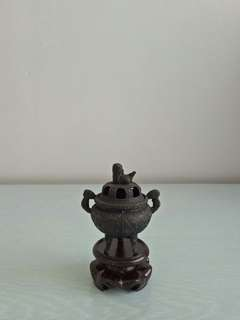 Old Bronze Display Tripod lncenser  Height 7.5cm Perfect Condition + wood stand