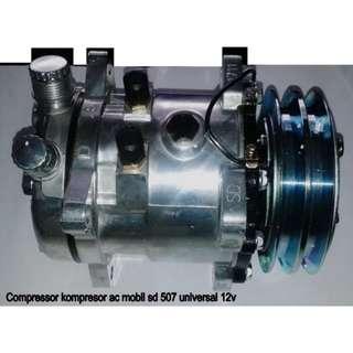 Jual Murah Ecer Grosir Partai Acc Suku Cadang Compressor Kompresor AC Mobil SD 507 Universal 12V