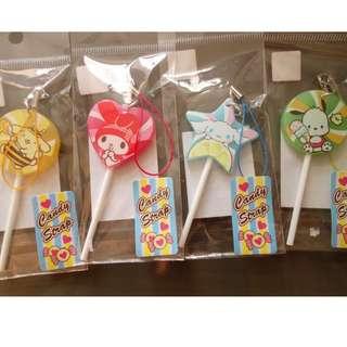 [包平郵]全新日本sanrio 波板糖形電話繩 candy strap
