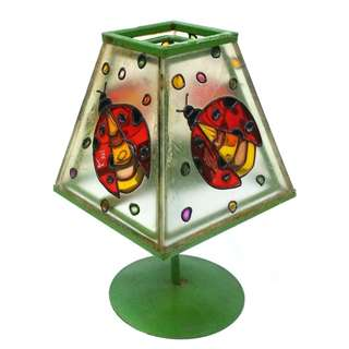 Vintage Stained Glass Ladybirds Tea Light Candle Holder Lamp