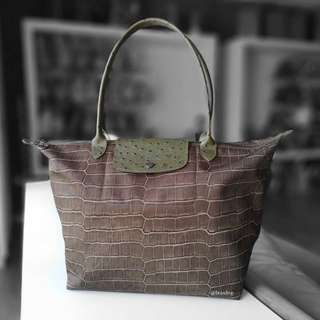 Authentic Longchamp Le Pliage Croco Tote Bag