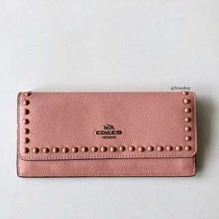Authentic Coach Soft Wallet In Lacquer Rivets Pebble Leather
