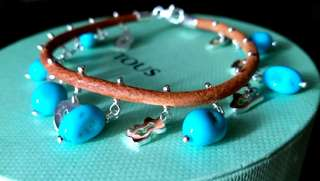 [New] TOUS turquoise, silver and leather bracelet
