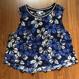 Valley Girl Blue Floral Crop Top with Varsity Style detail