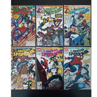 "Amazing Spider-Man #353,#354,#355,#356,#357,#358 (1991, 1st Series) Set of 6, Guest-starring Darkhawk,Moon Knight,Nova,Night-Thrasher & the Punisher! ""Magic"" Mark Bagley!"