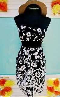 Black & White Tube Dress (floral)