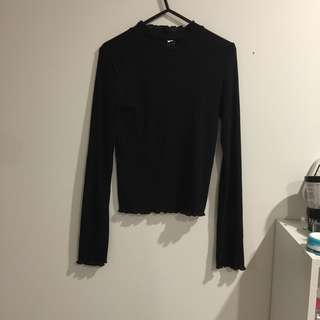 frilly black thin knit