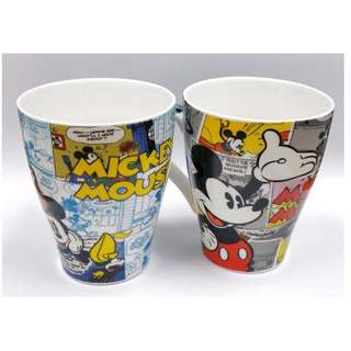 Collectible Pair of Vintage Disney's Mickey Mouse Comic Strip Themed Mugs