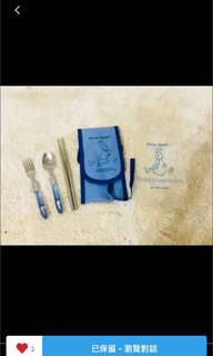 全新正品 #彼得兔餐具組 #攜帶式叉勺筷子 四件組 #叉子 #湯匙 #筷子 #外套 #寶寶餐具