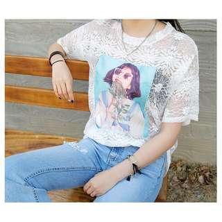 «Kimi Shop» 預購 ➜鏤空蕾絲設計女孩貼布造型上衣