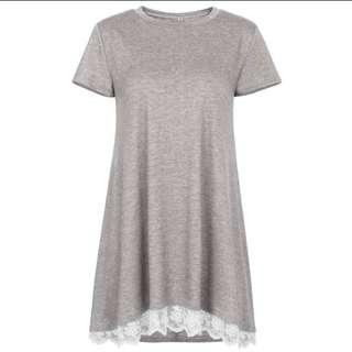 SALE 🆑BN Grey tunic lace shirt top