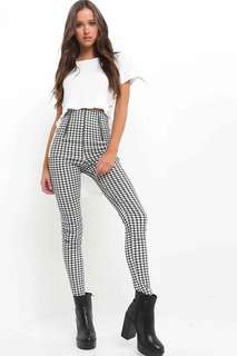 checkered high waist pants
