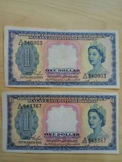 2pcs Malaya $1 Dollar 1953 QE EF