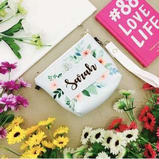 🚚 CUSTOM COSMETIC POUCH floral flower girl