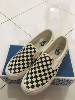 Vans Vault OG White & Navy Checkerboard Slip On