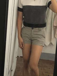 MANGO Khaki Casual Shorts