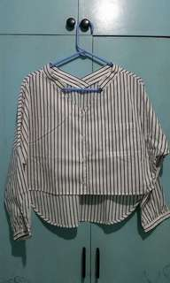 Korean style stripe semi crop top 3/4 sleeve
