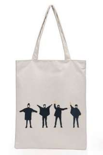 🚚 【Q夫妻】 shoulder bag 簡約 帆布包 手提包 購物包 單肩包 白色四人款 B0014-3 #一百元好物