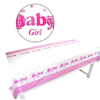 💕 Baby Girl baby shower party supplies - baby girl tablecloth