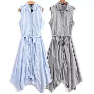 🚚 OshareGirl 05 歐美女士印花條紋襯衫式綁帶造型不規則連身洋裝連身裙