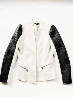 H&M Cream jacket with leather sleeves