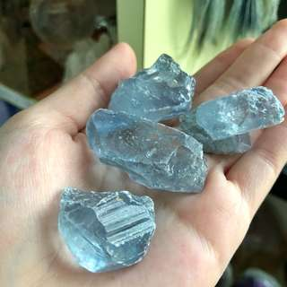 Rare! Gemmy Blue Celestite Raw Tumbled Stones