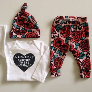 🚚 ✔️STOCK - 3pc RED FLORAL NEWEST ADDITION TO FAMILY LONG SLEEVES TOP & LEGGING PANTS SET WITH BEANIE HAT SET NEWBORN BABY TODDLER GIRL KIDS CHILDREN CLOTHING